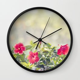Blossom of Red Hibiscus Flowers in the garden Wall Clock