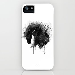 Black and White Horse Head Watercolor Silhouette iPhone Case
