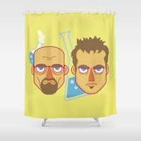 jesse pinkman Shower Curtains featuring  Mr White And Jesse Pinkman / Breaking Bad  by HypersVE