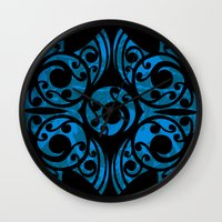 maori Wall Clocks featuring Blue Maori Style by Lonica Photography & Poly Designs