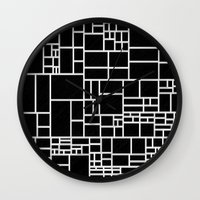 phil jones Wall Clocks featuring BW Pattern PHIL by MehrFarbeimLeben