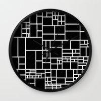 phil jones Wall Clocks featuring BW Pattern PHIL by MehrFarbeimLeben