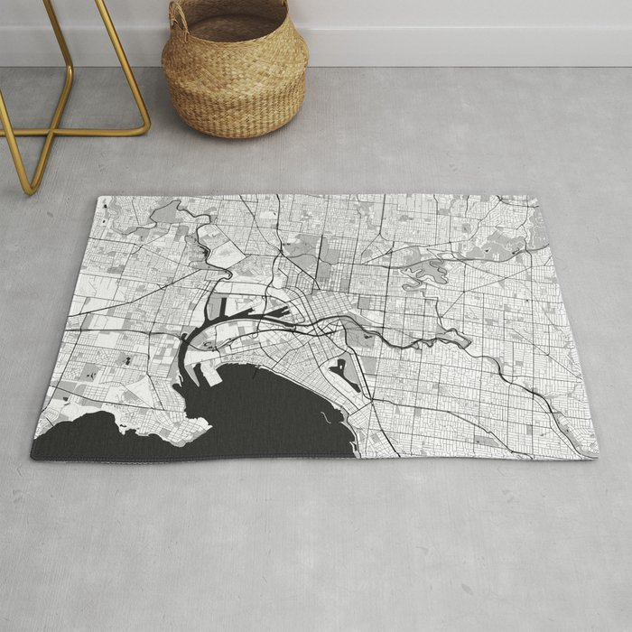 Melbourne City Map Gray Rug By