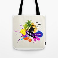 surfing Tote Bags featuring surfing  by mark ashkenazi