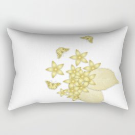 Elegant gold butterflies and gold flowers Rectangular Pillow