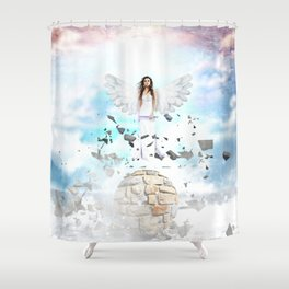 Archantael silver angel by GEN Z Shower Curtain