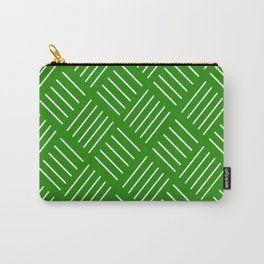 Abstract geometric pattern - green and white. Carry-All Pouch
