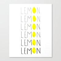 lemon Canvas Prints featuring LEMON by Berlyn Hubler