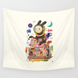 Space rabbit Wall Tapestry