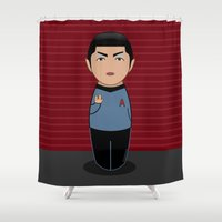 spock Shower Curtains featuring Kokeshi Spock by Pendientera
