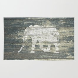 White Elephant Silhouette on Teal Wood A215C Rug