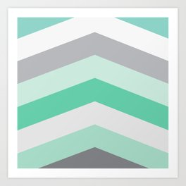 Mint and gray chevron Art Print