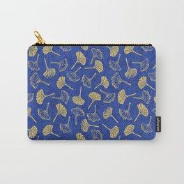 Ginkgo Biloba linocut pattern GLITTER GOLD DEEP BLUE Carry-All Pouch