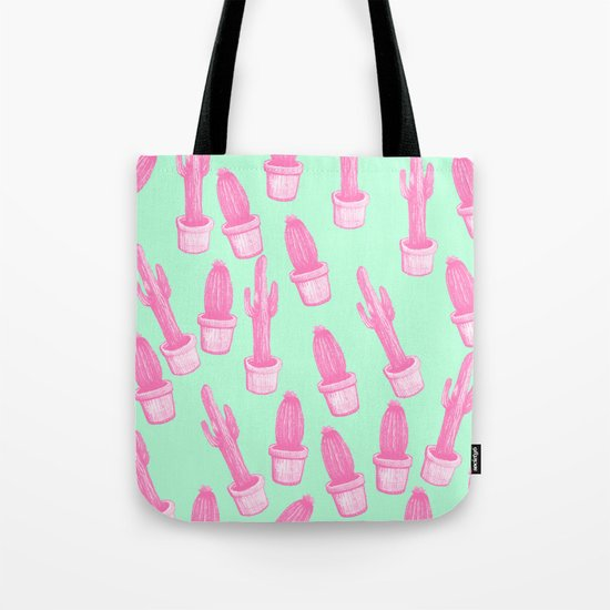 cactus pink and blue Tote Bag