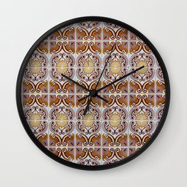 Close-up of ceramic wall tiles in Tavira, Portugal Wall Clock