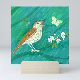 Wood Thrush Spring Song Mini Art Print