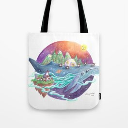 Penguins travel across the sky on a whale lsland with mountains and igloo Tote Bag