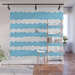 Funny Minimal Illustration Shark Fin and Waves Wall Mural