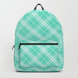 Pale Blue and White Diagonal Plaid Tartan Check Backpack