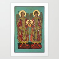 Archangel Michael and Gabriel with Medallion Art Print