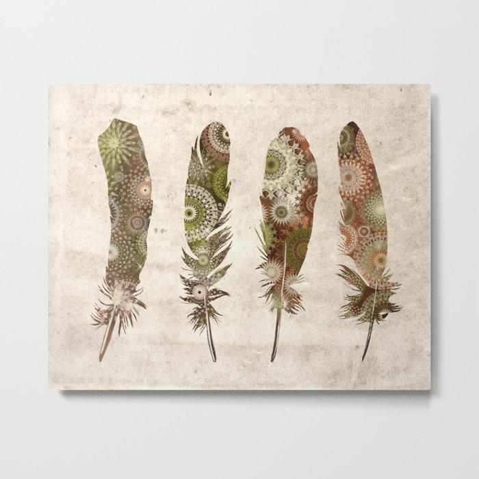 vintage mandala feathers Metal Print