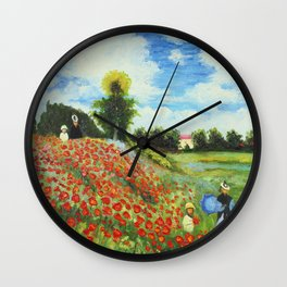 Claude Monet - Poppy Field at Argenteuil Wall Clock