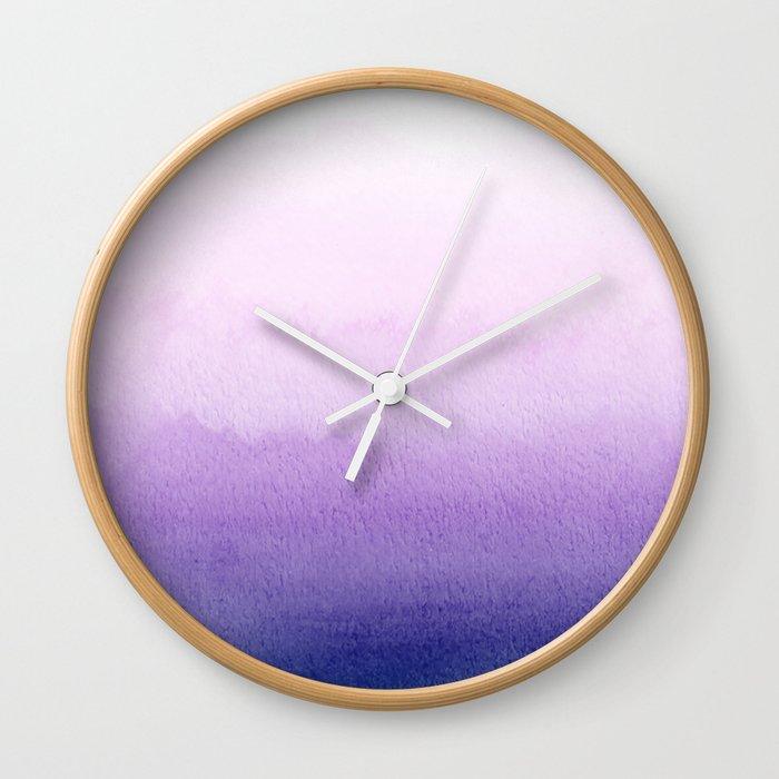 Purple Watercolor Design Wall Clock