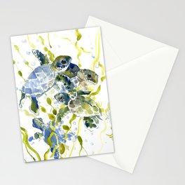Turtle Baby Sea Turtles, underwater scene olive green, green indigo blue children Stationery Cards