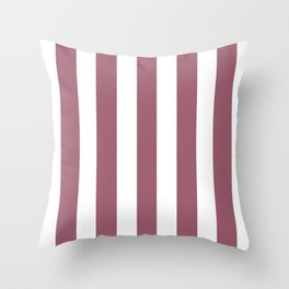 Rose Dust purple - solid color - white vertical lines pattern Throw Pillow