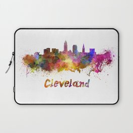 Cleveland skyline in watercolor Laptop Sleeve