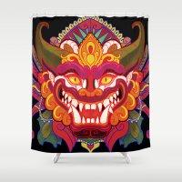 bali Shower Curtains featuring Bali Mask by Aïda de Ridder