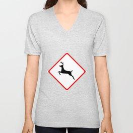 Christmas Reindeer Street Sign Unisex V-Neck