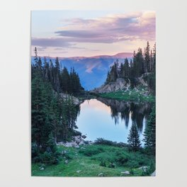 Hikers Bliss Perfect Scenic Nature View \ Mountain Lake Sunset Beautiful Backpacking Landscape Photo Poster