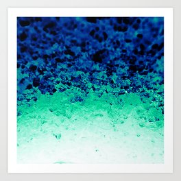 Midnight Teal Ombre Crystals Art Print