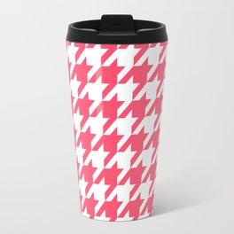 Pink Houndstooth Travel Mug