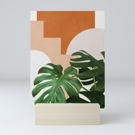 Abstract shapes art, Tropical leaves, Plant, Mid century modern art Mini Art Print