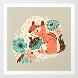 Chipmunk & Flowers Art Print