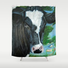 Muddy Fields Cow Painting Shower Curtain