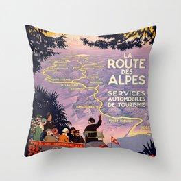 Vintage poster - Route des Alpes, France Throw Pillow