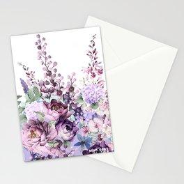 Purple flowers. Roses, peonies, gerberas, gladioli. Watercolor. Stationery Cards