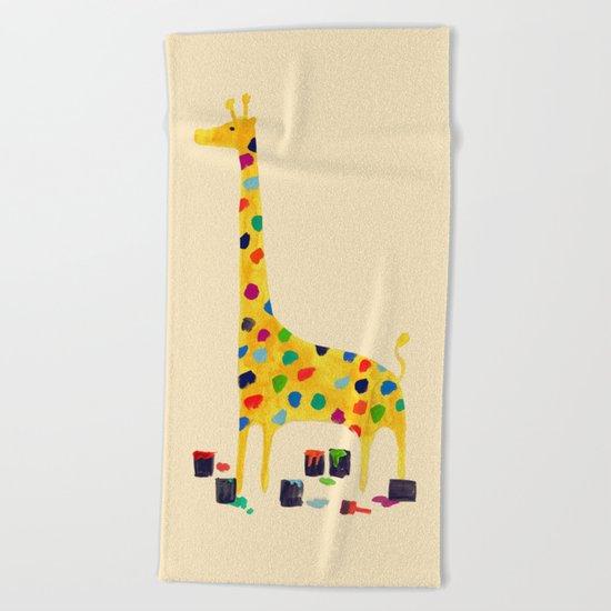 Paint by number giraffe Beach Towel