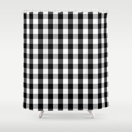 Large Black White Gingham Checked Square Pattern Shower Curtain