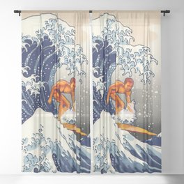 Great Wave Surfer Sheer Curtain