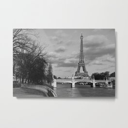 Eiffel Tower Black & White Metal Print