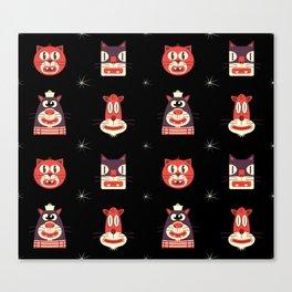 Kitty Kat Head Patterns with Dingbats Canvas Print