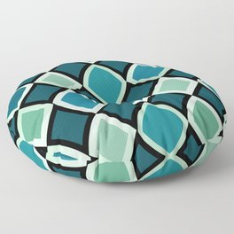 Midcentury Warped Diamonds Teal Floor Pillow