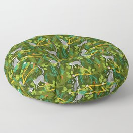 Lemurs in a Green Jungle Floor Pillow