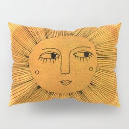 Sun Drawing Gold and Blue Pillow Sham