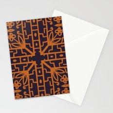 Decorative Floral Pattern 8 - Bleached Cedar, Piper Orange Stationery Cards