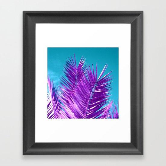 purple palm tree Framed Art Print